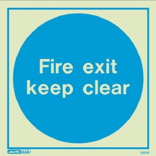 (5257) Jalite Fire exit keep clear sign